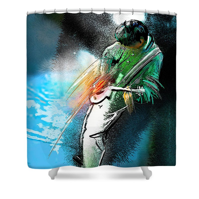 Music Shower Curtain featuring the painting Jimmy Page Lost In Music by Miki De Goodaboom