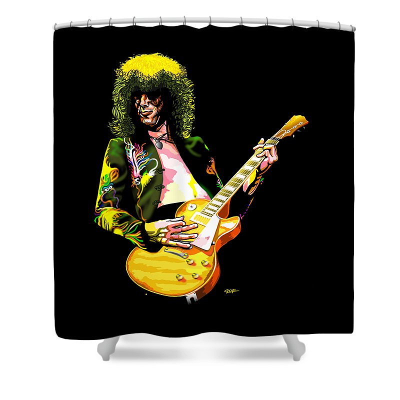 Jimmy Page Of Led Zeppelin Shower Curtain For Sale By GOP Art