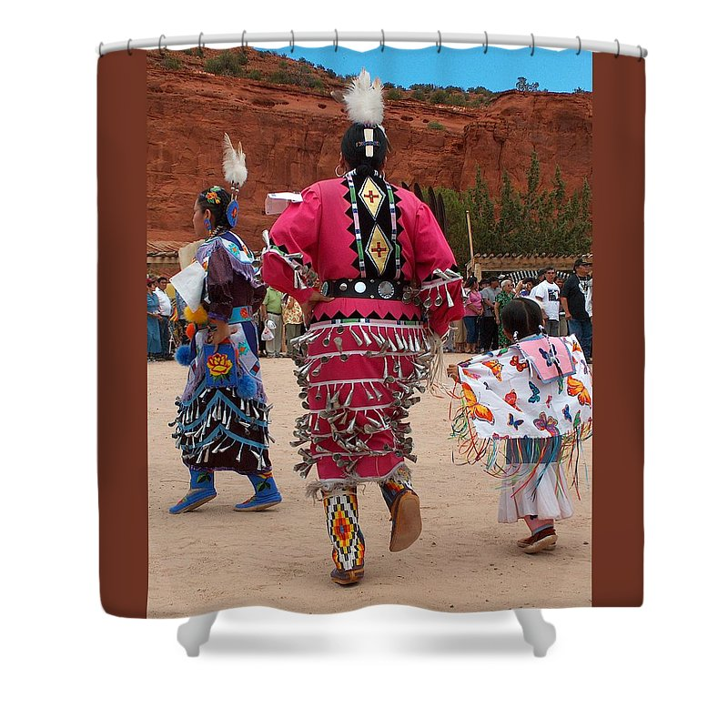 Pow-wow Shower Curtain featuring the photograph Jingle Dress And Fancy Shawl Dancers by Tim McCarthy