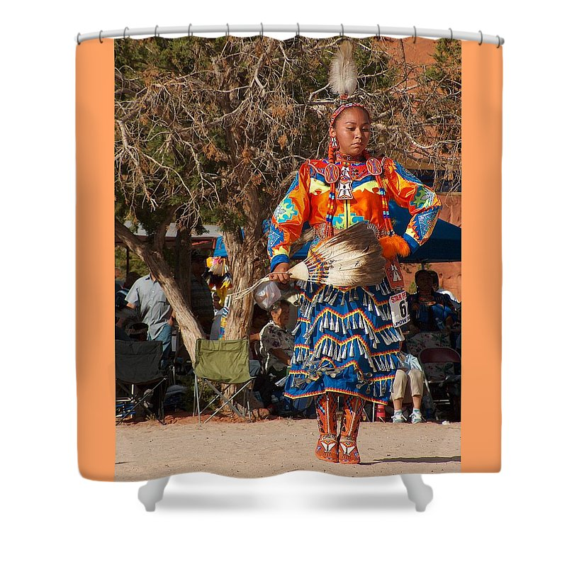 Pow-wow Dancer Shower Curtain featuring the photograph Jingle Dress Dancer At Star Feather Pow-wow by Tim McCarthy