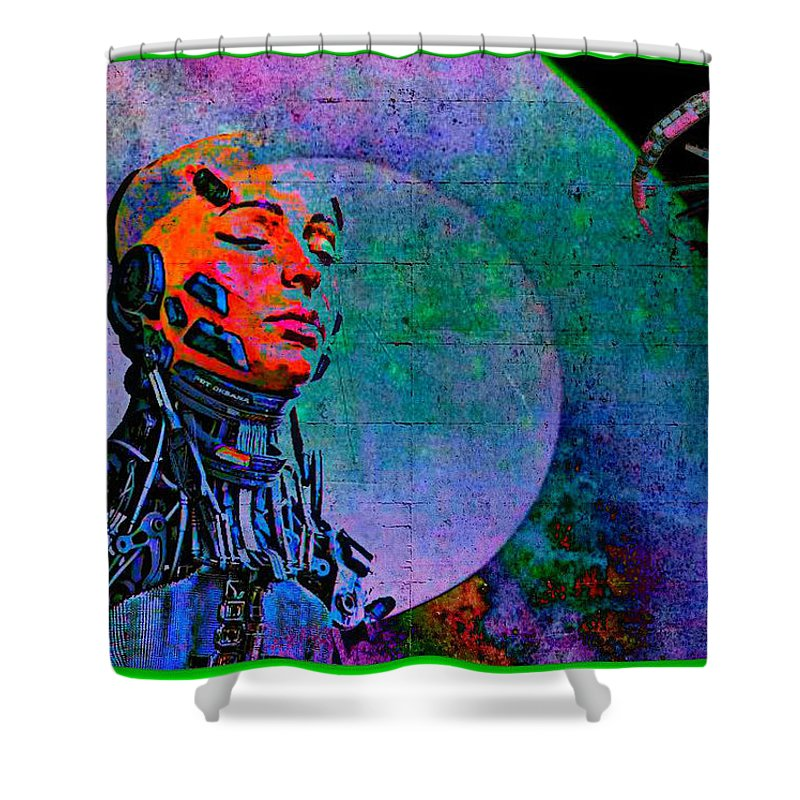 Jive Bot/robotics And Consciousness/she Had Left Her Robotic Body/ Shower Curtain featuring the digital art Jive Bot/robotics And Consciousness/she Had Left Her Robotic Body/ by Tony Adamo