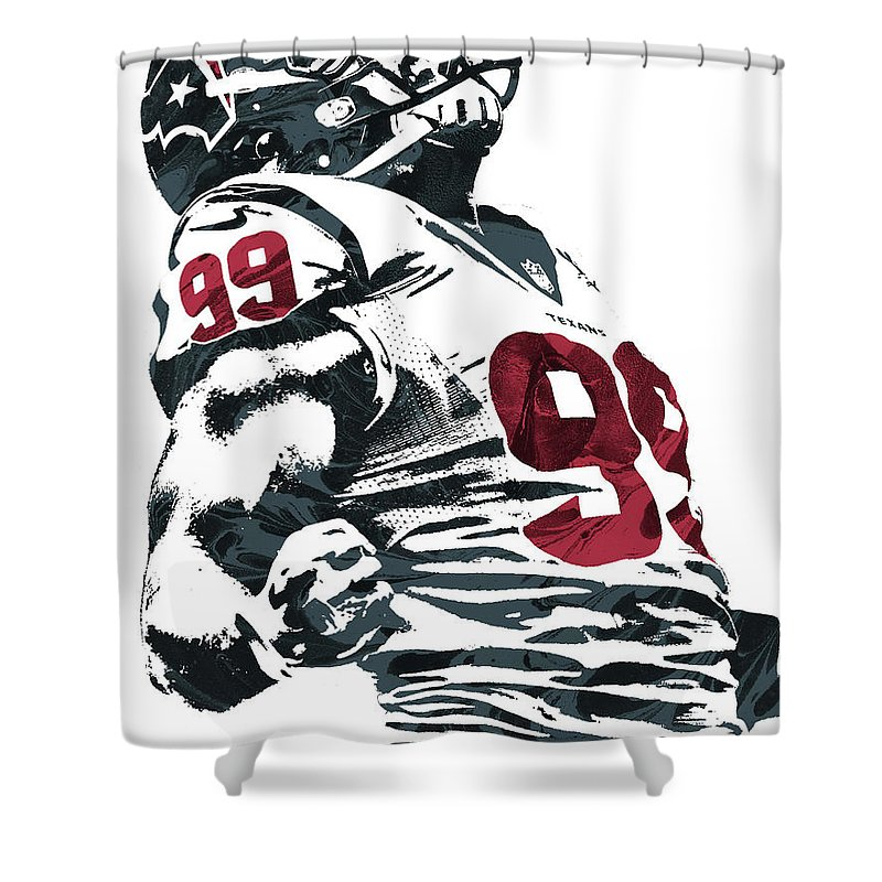 Jj Watt Shower Curtain Featuring The Mixed Media Houston Texans Pixel Art 2 By