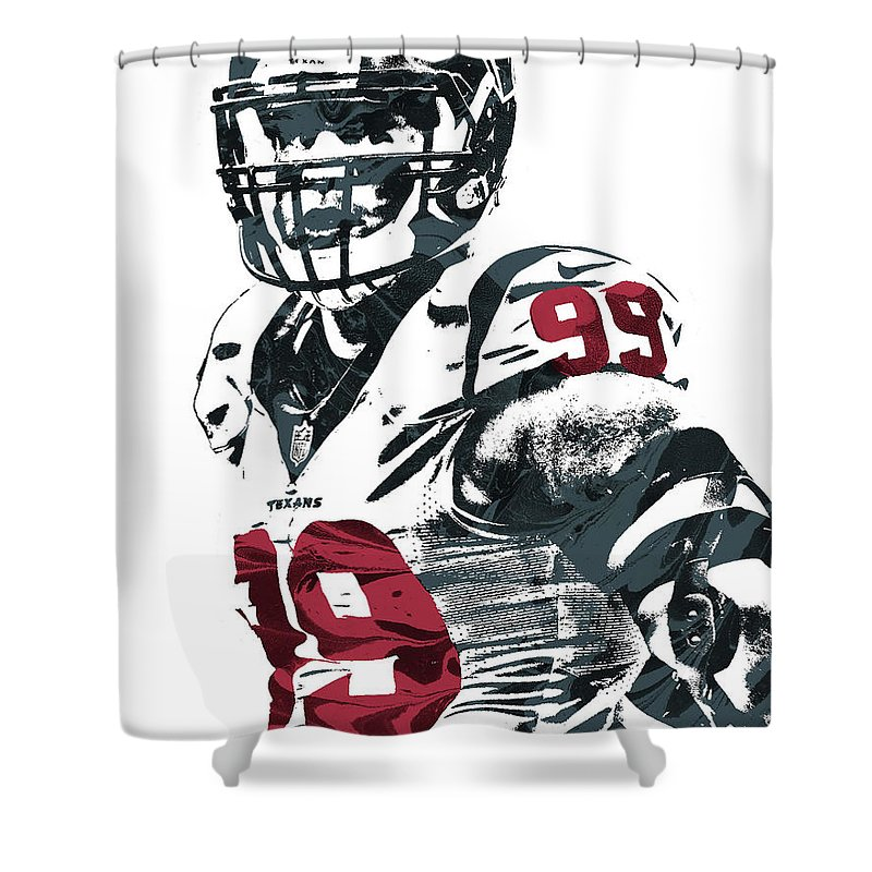 Jj Watt Shower Curtain Featuring The Mixed Media Houston Texans Pixel Art 3 By
