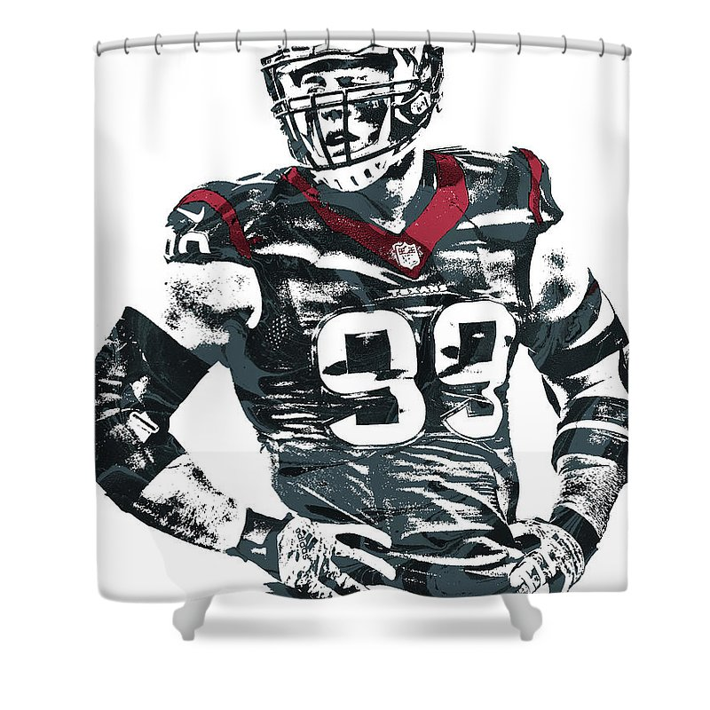Jj Watt Houston Texans Pixel Art 5 Shower Curtain For Sale By Joe Hamilton