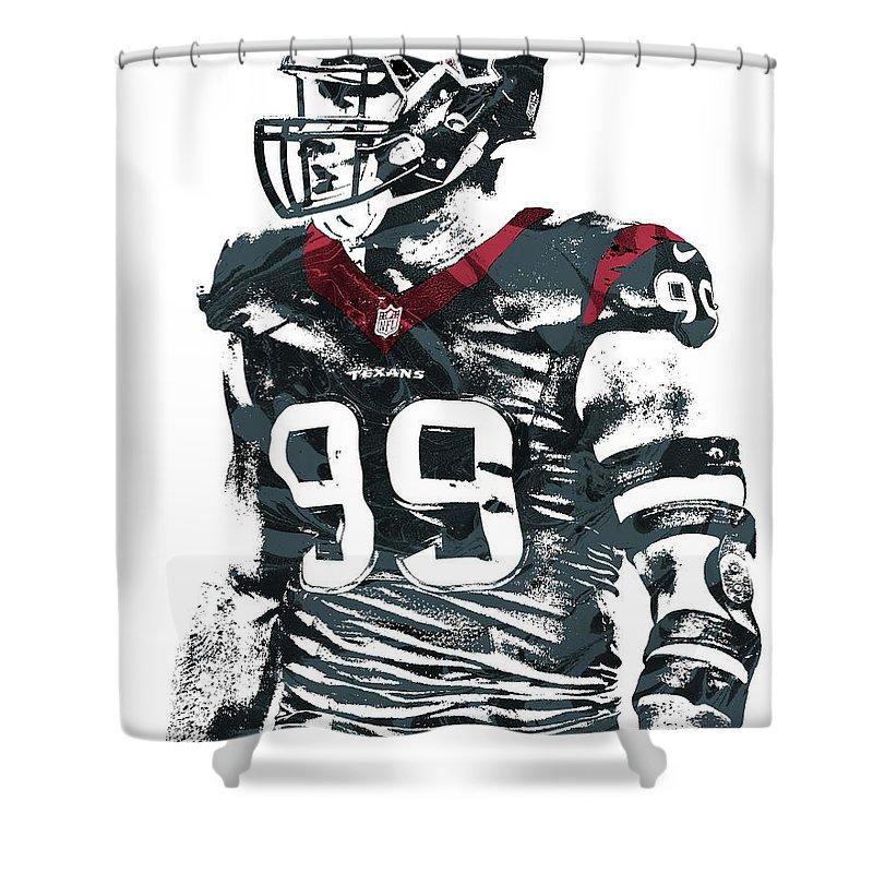 Jj Watt Shower Curtain Featuring The Mixed Media Houston Texans Pixel Art 6 By
