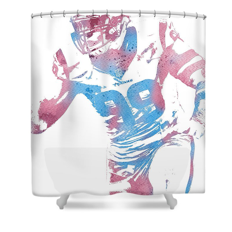 Jj Watt Shower Curtain Featuring The Mixed Media Houston Texans Water Color Art 2