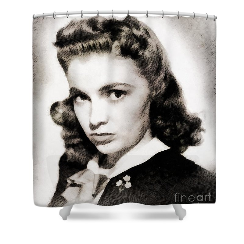 Hollywood Shower Curtain featuring the painting Joan Leslie, Vintage Actress by John Springfield