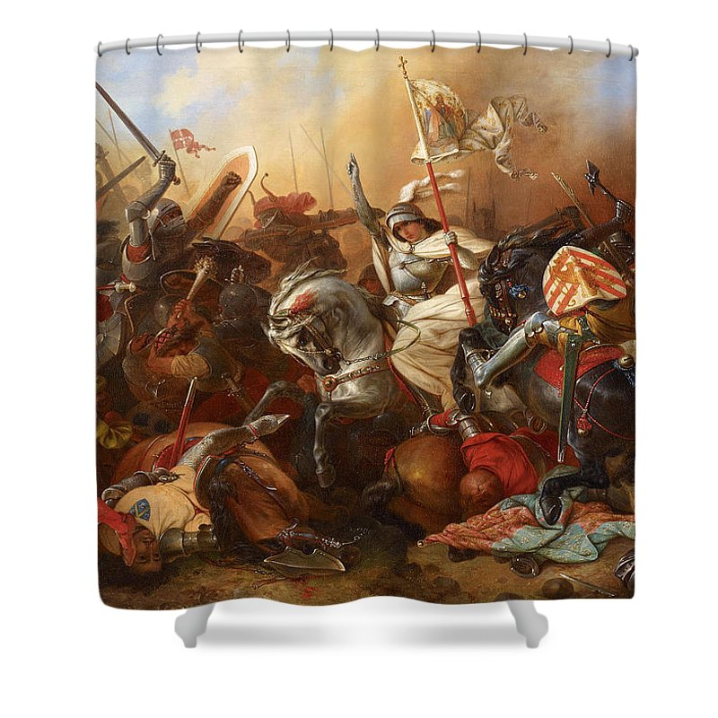 August Gustav Lasinsky Shower Curtain featuring the painting Joan Of Arc In The Battle by August Gustav Lasinsky