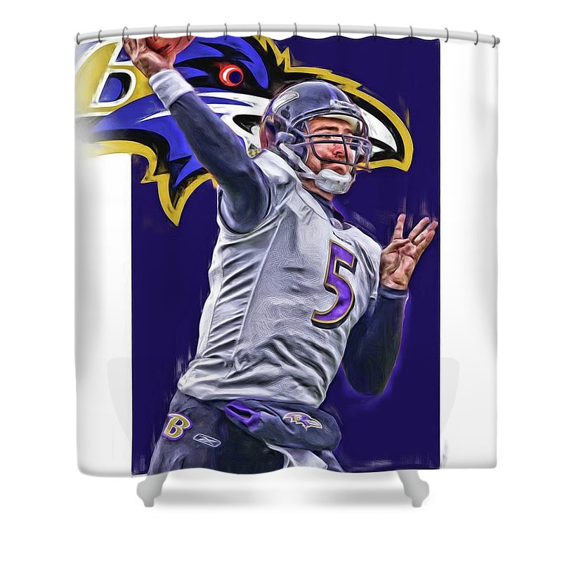 Joe Flacco Shower Curtain Featuring The Mixed Media Baltimore Ravens Oil Art By
