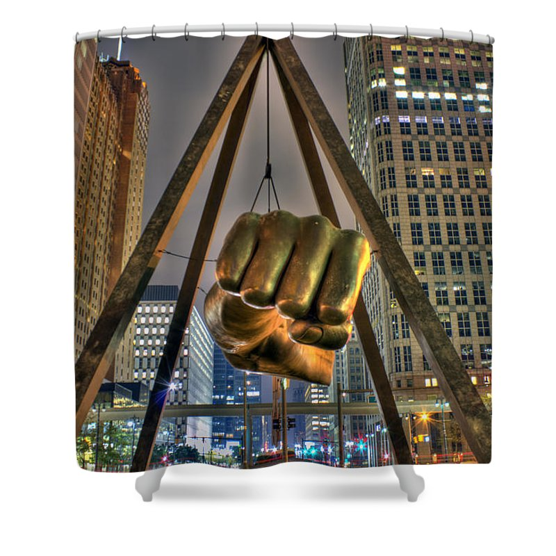 Dj Just Nick Shower Curtain featuring the digital art Joe Louis Fist Detroit MI by Nicholas Grunas