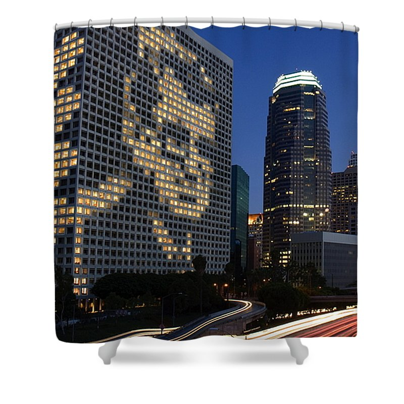 Joe Paterno Shower Curtain featuring the digital art Joe Paterno City Scape by Paul Van Scott