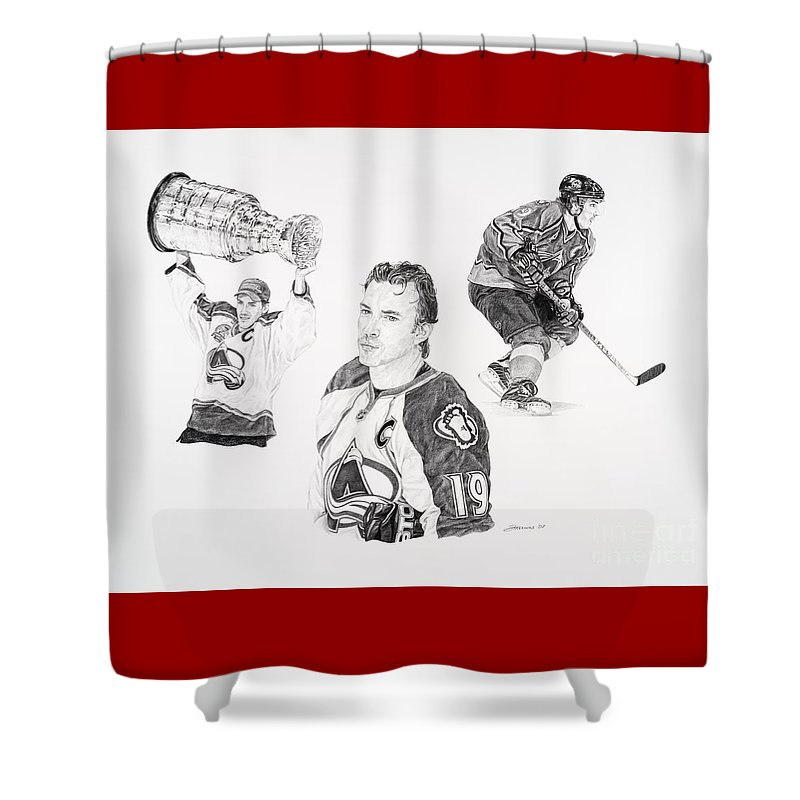 Hockey Shower Curtain featuring the drawing Joe Sakic by Shawn Stallings