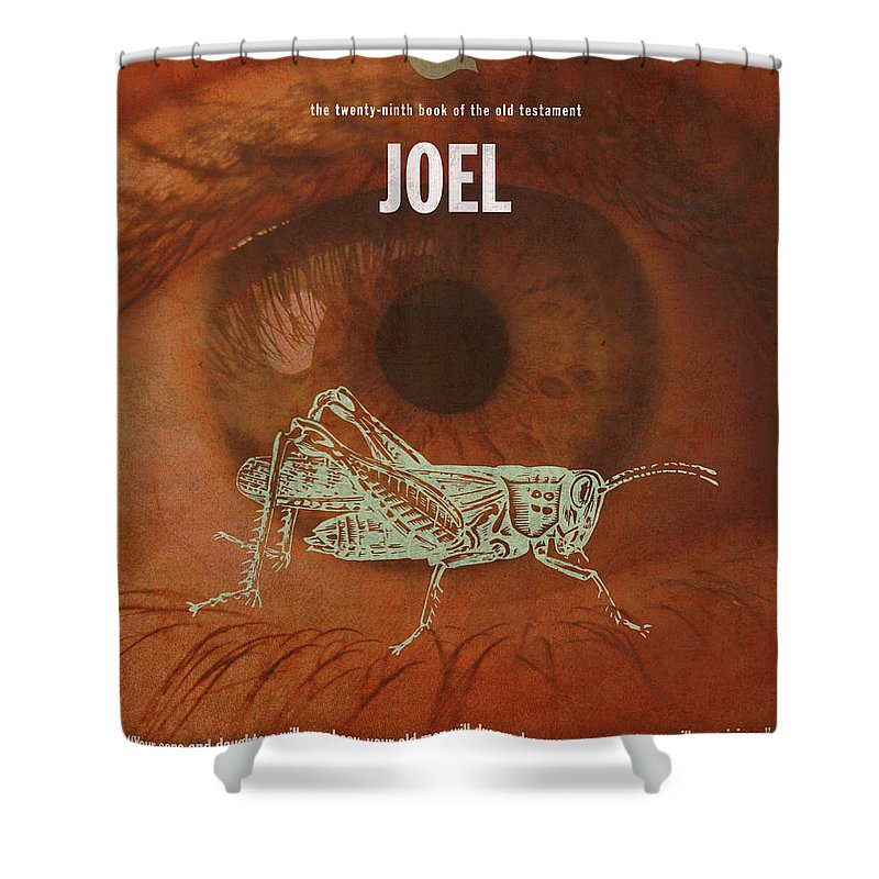 Joel Shower Curtain featuring the mixed media Joel Books Of The Bible Series Old Testament Minimal Poster Art Number 29 by Design Turnpike