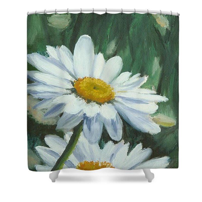 Daisy Shower Curtain featuring the painting Joe's Daisies by Lea Novak