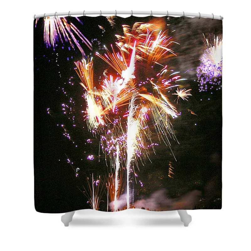 Joe Shower Curtain featuring the photograph Joe's Fireworks Party 2 by Charles Harden