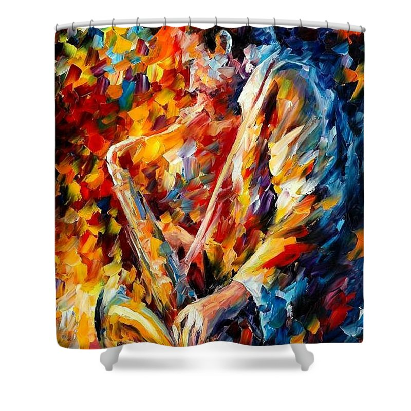Music Shower Curtain featuring the painting John Coltrane by Leonid Afremov