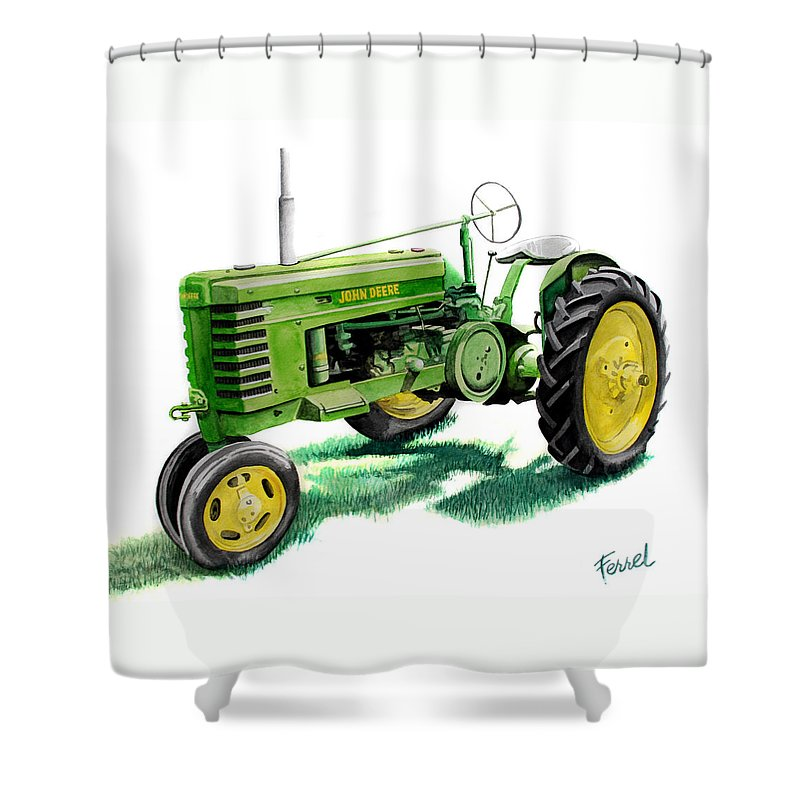 John Deere Tractor Shower Curtain featuring the painting John Deere Tractor by Ferrel Cordle