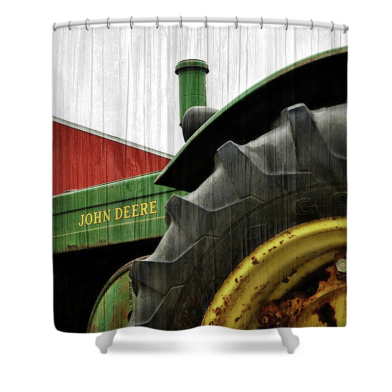 Tractor Shower Curtain featuring the photograph John Deere With Wood Grain by Luke Moore