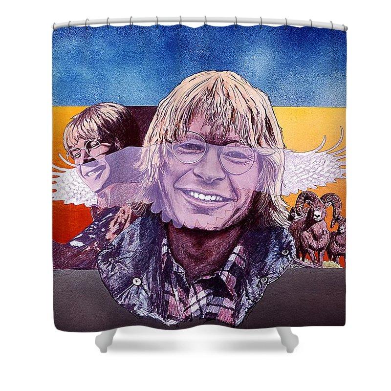 John Denver Shower Curtain featuring the mixed media John Denver by John D Benson