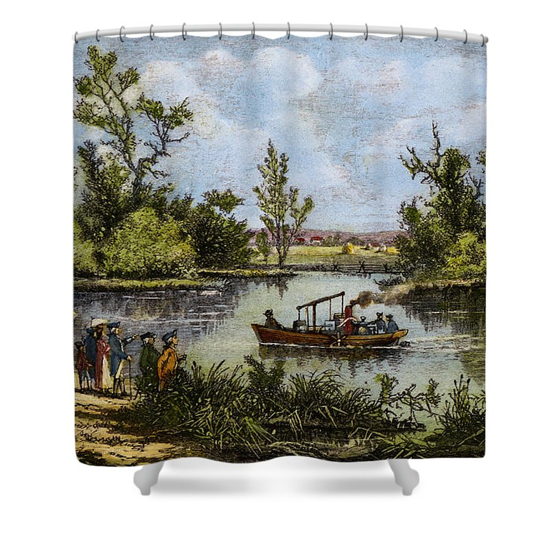 1796 Shower Curtain featuring the drawing John Fitch Steamboat, 1796 by Granger