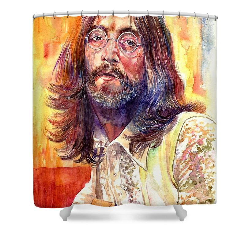 John Lennon Shower Curtain featuring the painting John Lennon watercolor by Suzann Sines