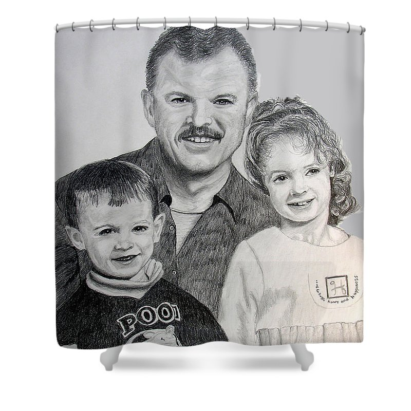 Portrait Shower Curtain featuring the drawing John Megan And Joey by Stan Hamilton
