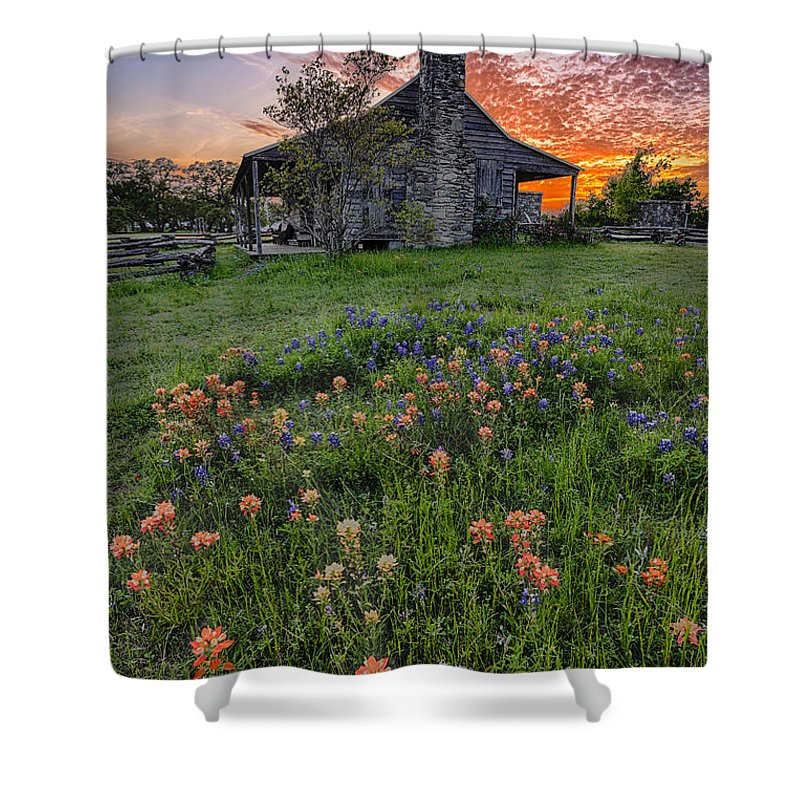 Independence Shower Curtain featuring the photograph John P Coles Cabin And Spring Wildflowers At Independence - Old Baylor Park Brenham Texas by Silvio Ligutti