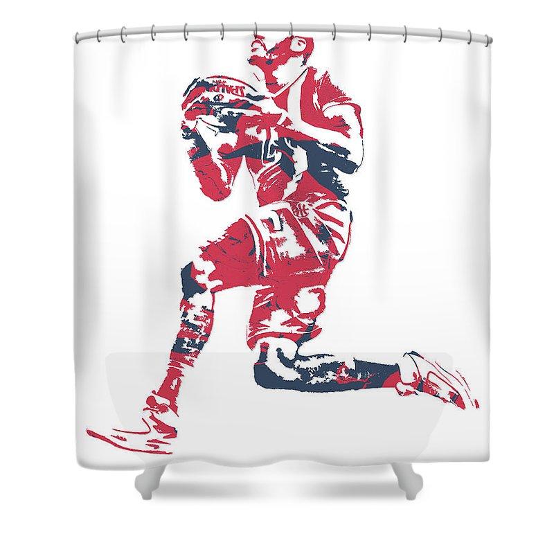 John Wall Shower Curtain featuring the mixed media John Wall Washington Wizards Pixel Art 20 by Joe Hamilton