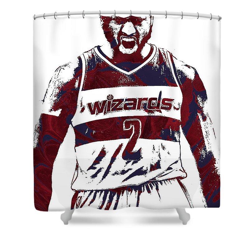 John Wall Shower Curtain featuring the mixed media John Wall Washington Wizards Pixel Art 5 by Joe Hamilton