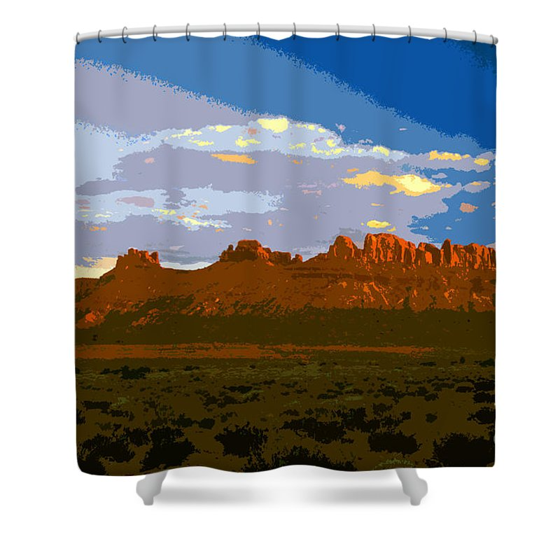 Landscape Shower Curtain featuring the painting John Wayne Country by David Lee Thompson