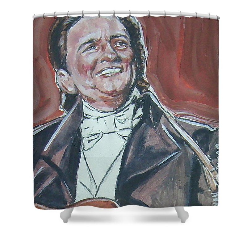 Johnny Cash Shower Curtain featuring the painting Johnny Cash by Bryan Bustard