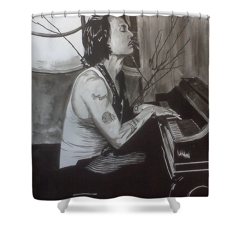 Justin Moore Shower Curtain featuring the painting Johnny Depp 1 by Justin Moore