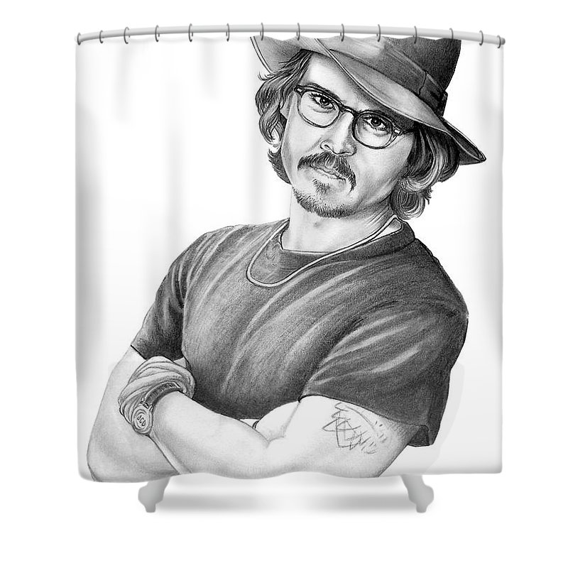 Johnny Depp Shower Curtain featuring the drawing Johnny Depp by Murphy Elliott