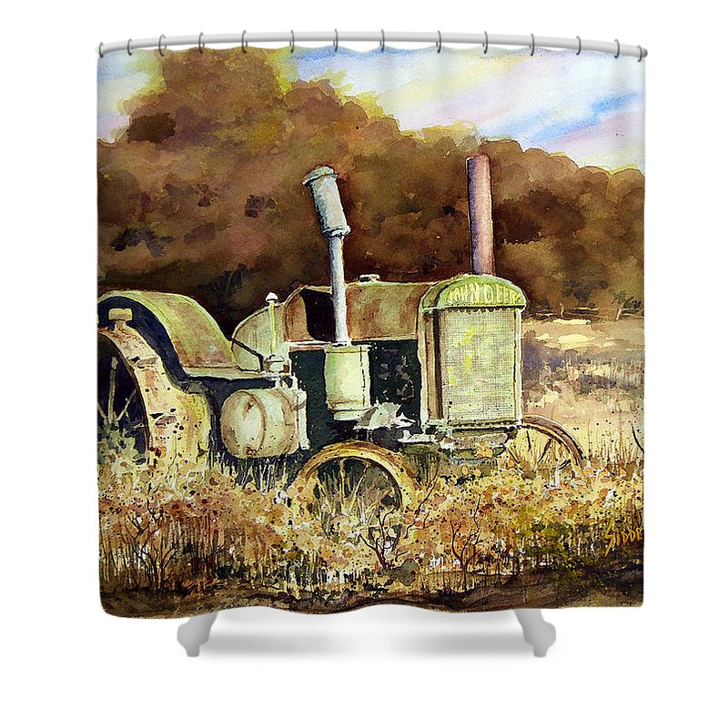 Tractor Shower Curtain featuring the painting Johnny Popper by Sam Sidders