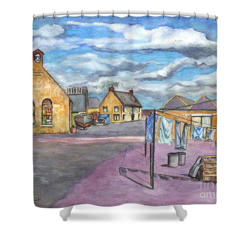 Scotland Shower Curtain featuring the painting Johnshaven Scotland by Carol Wisniewski
