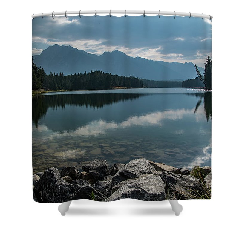 Canadian Rockies Shower Curtain featuring the photograph Johnson Lake by Todd Carriveau