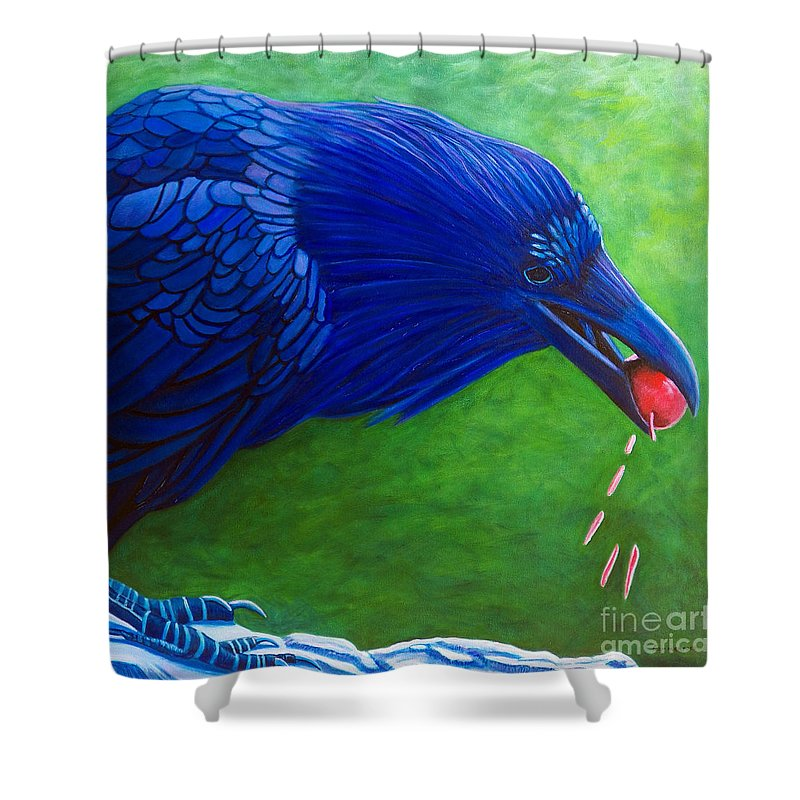 Raven Shower Curtain featuring the painting Joie De Vivre by Brian Commerford