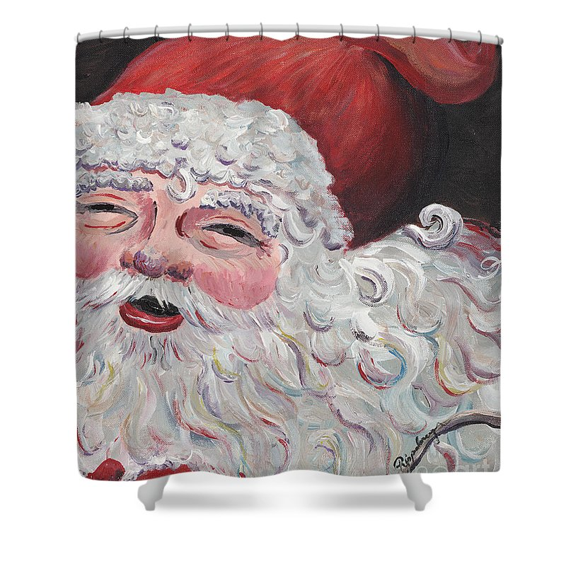 Santa Shower Curtain featuring the painting Jolly Santa by Nadine Rippelmeyer