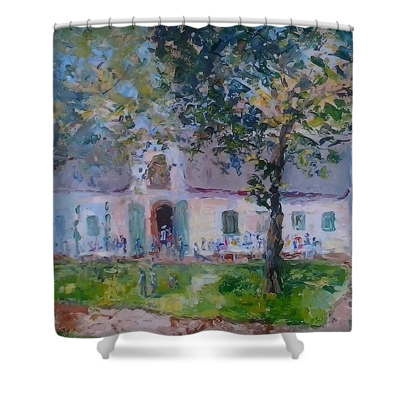 Dark Green Leaves Shower Curtain featuring the painting Jonkerhshuis At Groot Constantia by Elinor Fletcher