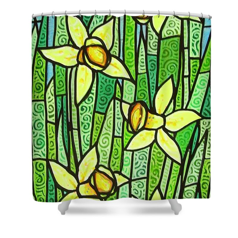 Jonquils Shower Curtain featuring the painting Jonquil Glory by Jim Harris