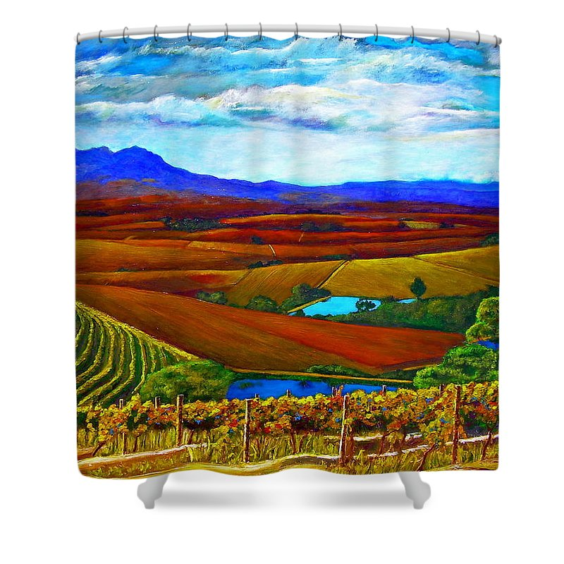 Vineyard Shower Curtain featuring the painting Jordan Vineyard by Michael Durst