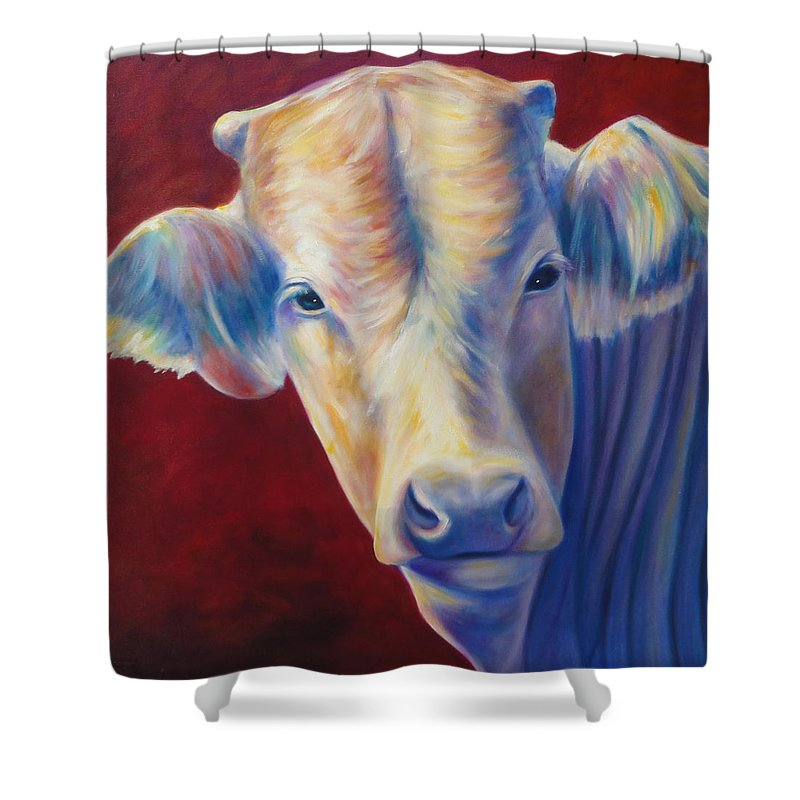 Bull Shower Curtain featuring the painting Jorge by Shannon Grissom