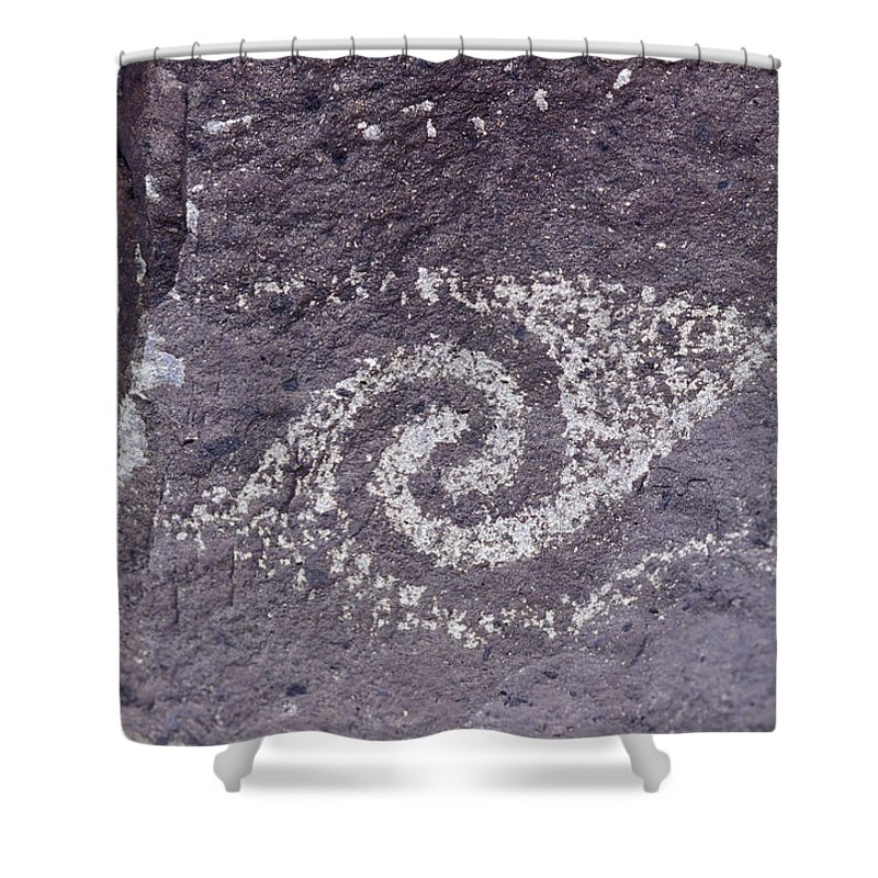 Three Rivers Petroglyph Site Shower Curtain featuring the photograph Jornada Mogollon Petroglyph, 5000 Bc- by Rich Reid