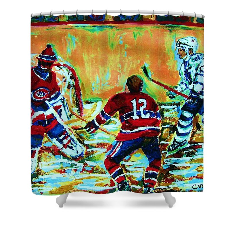 Hockey Canvas Prints Shower Curtain featuring the painting Jose Theodore The Goalkeeper by Carole Spandau