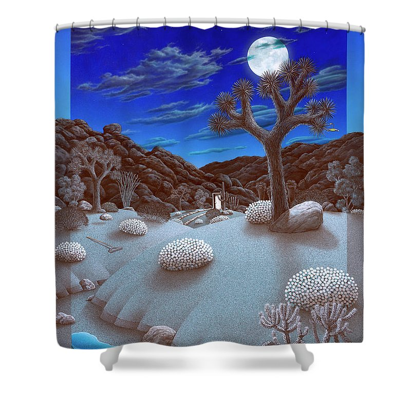 Landscape Shower Curtain featuring the painting Joshua Tree At Night by Snake Jagger