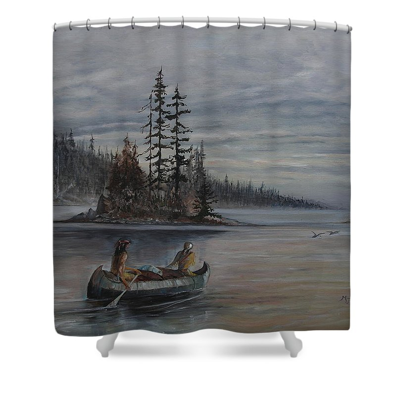 First Nation Shower Curtain featuring the painting Journey - Lmj by Ruth Kamenev