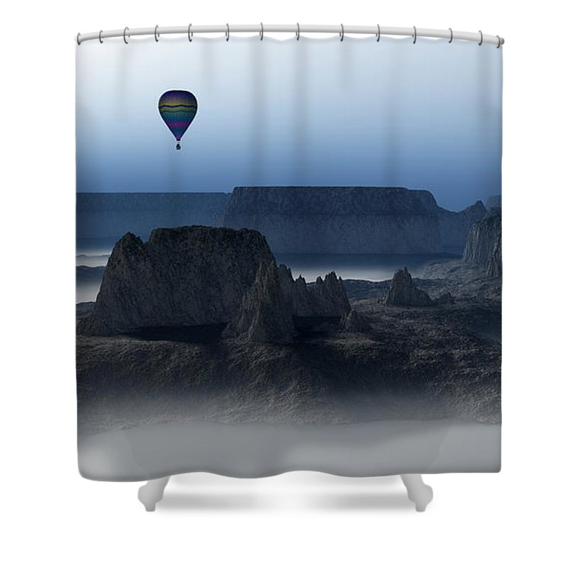 Balloon Flight Shower Curtain featuring the digital art Journey Into The Wastelands by Richard Rizzo