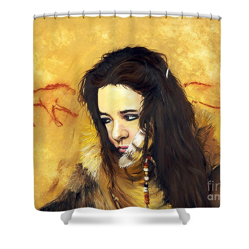 Southwest Art Shower Curtain featuring the painting Journey by J W Baker