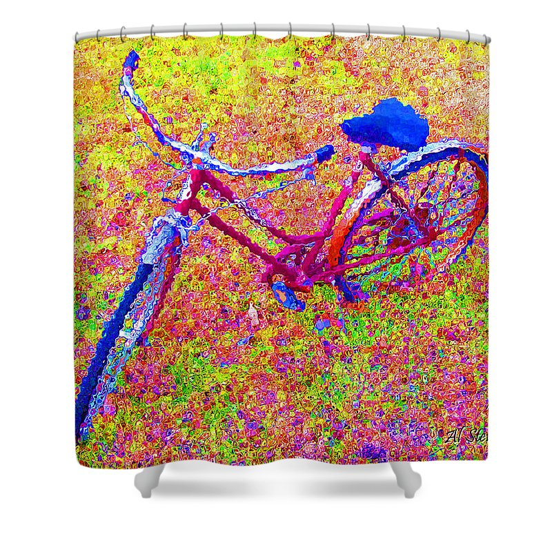 Bike Shower Curtain featuring the photograph Joy, The Bike Ride by Albert Stewart