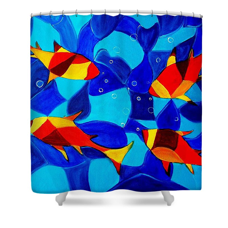 Abstract.acrylic.fish.bubbles.art.painting.modern.contemporary.popblue Red Bubbles Yellow Landscape Shower Curtain featuring the painting Joy Fish Abstract by Manjiri Kanvinde